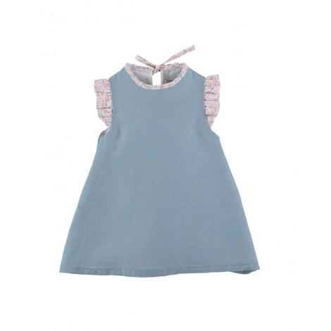 Vestido CAROLINE de bebé Turquesa Normandie