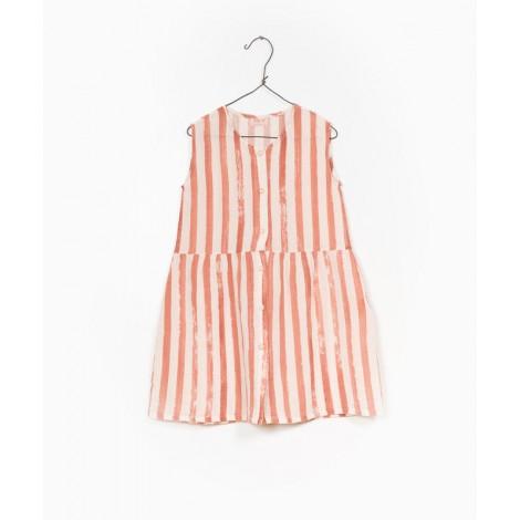 Vestido niña tejido botones a rayas en ARGILE