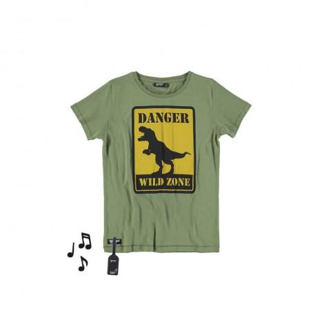 Camiseta infantil sonido M/C DINO verde