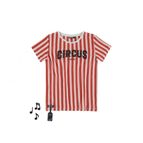Camiseta infantil sonido M/C CIRCUS rayas rojas