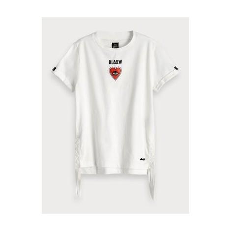 Camiseta niña blanca cuadrada con corazón y flecos