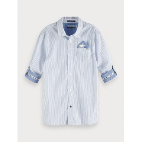 Camisa niño rayas y estampado azul