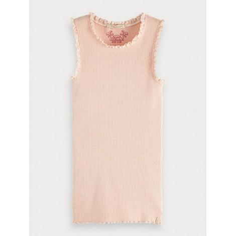 Camiseta tirantes niña rosa palo diseño canalé