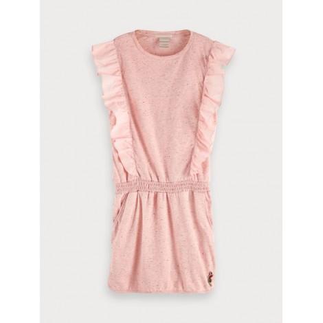 Vestido niña moteado volantes de punto rosa vigoré