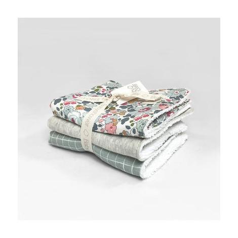 Pack toallitas bebé LIBERTY BETSY - MINT GRID