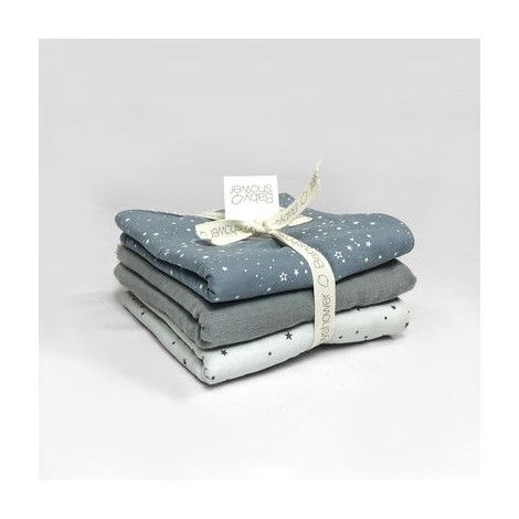 Pack toallitas bebé BLUE - GREY - GREY ON GREY