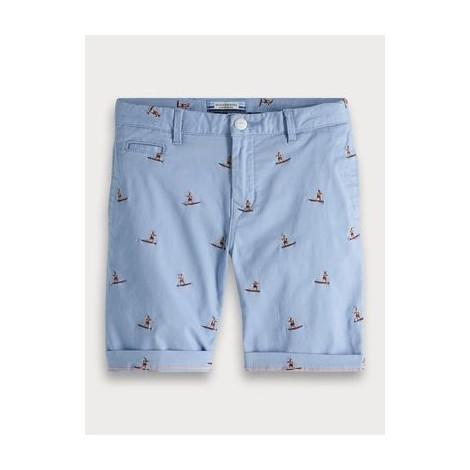 Pantalón short chino niño azul sufres bordados