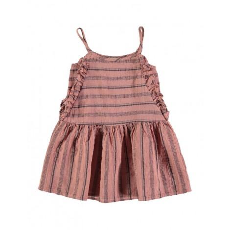 Vestido niña CRETA raya playera en OLD ROSE