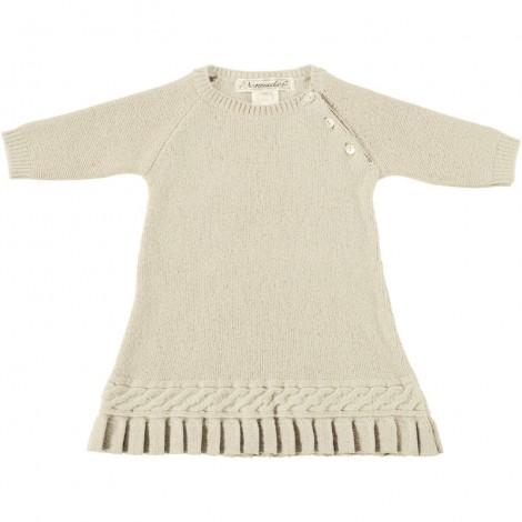 Vestido bebé PLIEGUES en lana marfil Normandie
