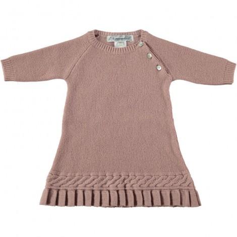 Vestido bebé PLIEGUES en lana rosa Normandie