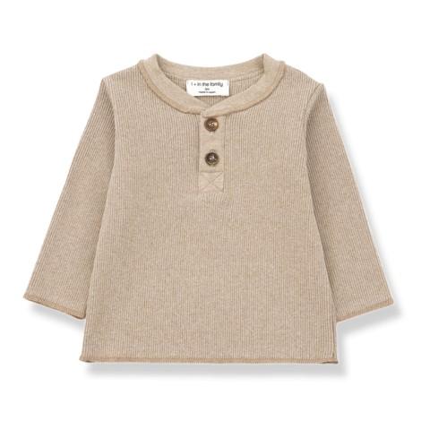 Camiseta bebé ALBI canalé botones M/L en BEIGE
