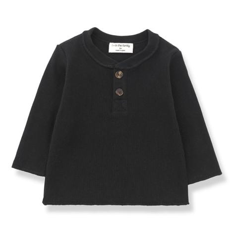 Camiseta bebé ALBI canalé botones M/L en NEGRO