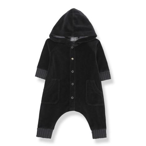 Pelelé bebé capucha ARGOS terciopelo en NEGRO