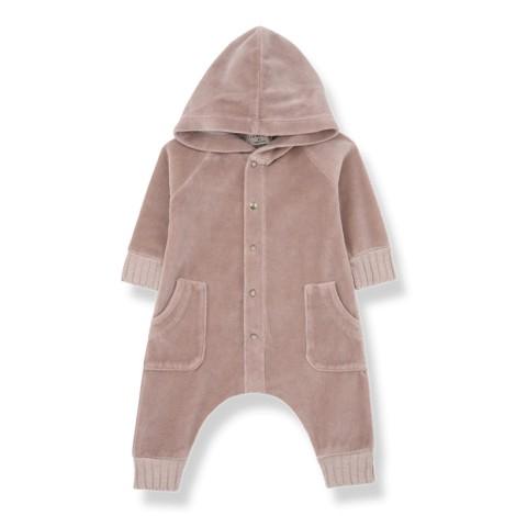 Pelelé bebé capucha ARGOS terciopelo en ROSA