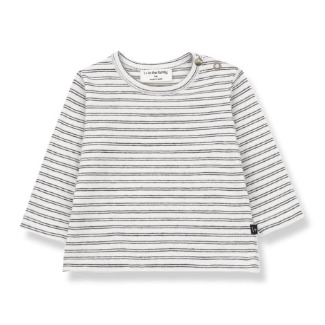 Camiseta bebé BARCELONA rayas M/L en BLANCO-NEGRO