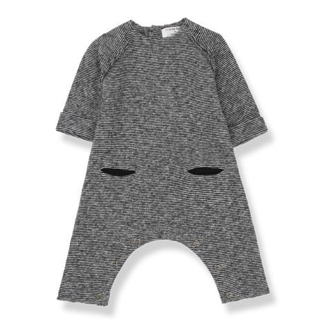 Pelele bebé BRA bolsillos en NEGRO-BLANCO