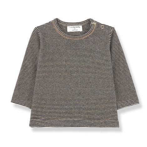 Camiseta bebé LIEGE manga larga en NEGRO-BEIGE