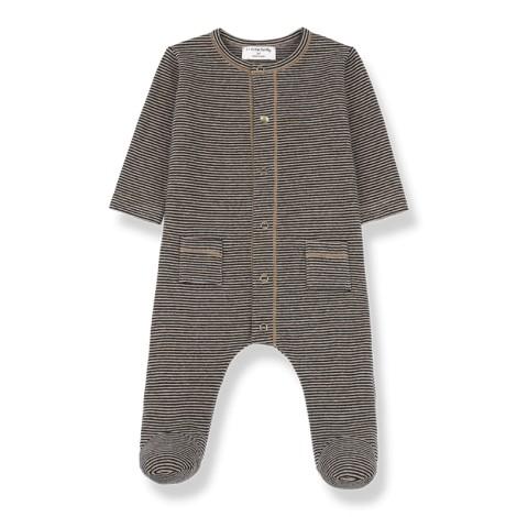 Pelele bebé bolsillos MONS pie en NEGRO-BEIGE