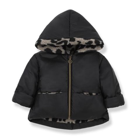 Abrigo bebé REGINA capucha y polar en NEGRO-BEIGE