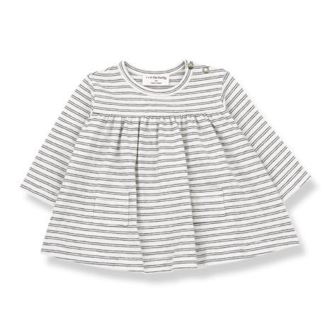 Vestido bebé SALOU a rayas M/L en BLANCO-NEGRO
