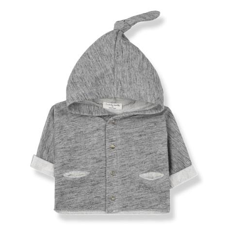 Chaqueta bebé URUS capucha y nudo en GRIS VIGORÉ