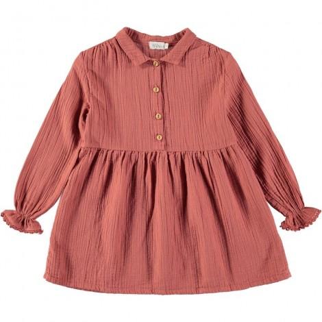 Vestido niña MILENA cuello y botones en ROSE DAWN