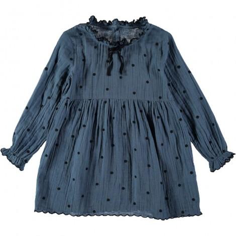 Vestido niña ELSA topitos bordados en OCEAN BLUE