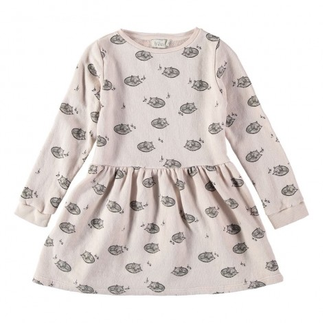 "Vestido niña EVA ""SLEEPY FOXES"" en DUST ROSE"