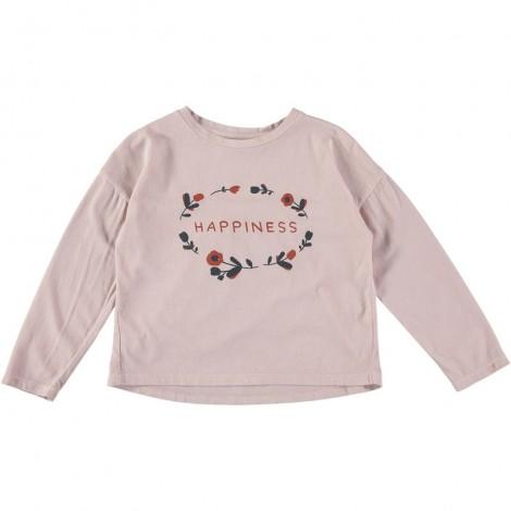 "Camiseta niña NATALIE ""HAPPINESS"" M/L en DUST ROSE"