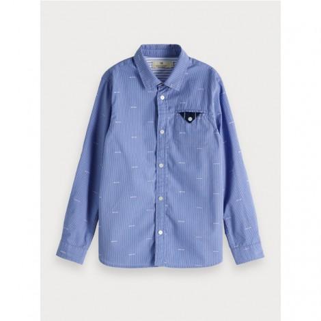 Camisa niño azul con rayita bolsillo regular fit