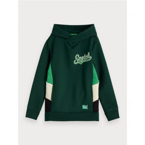 Sudadera niño verde sport con capucha retorcida