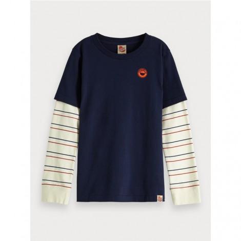 Camiseta niño manga larga con interior simulado