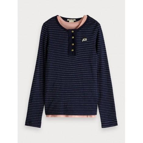 Camiseta niña 2 en 1 manga larga azul a rayas