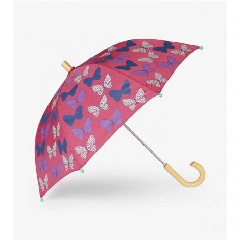 Paraguas infantil MARIPOSAS con topos rojo fucsia