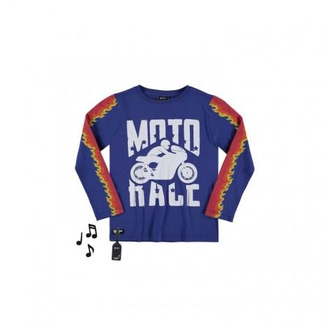 Camiseta sonido MOTO RACE M/L azul para niño