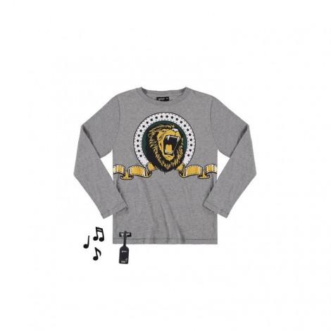 Camiseta infantil sonido LION M/L gris