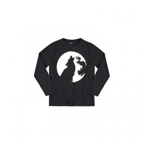 Camiseta infantil fluorescente WOLF M/L negra