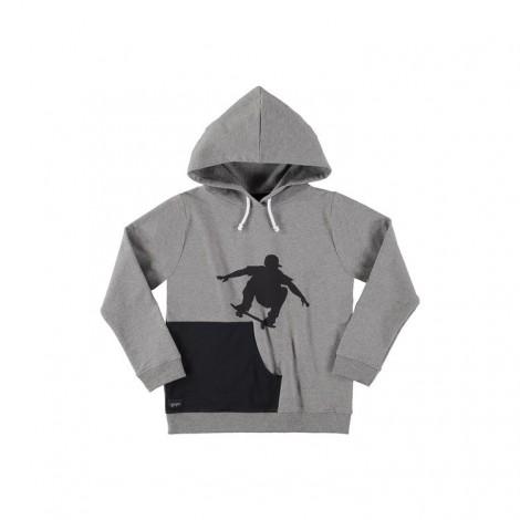 Sudadera capucha niño SKATER HOODIE gris bolsillo