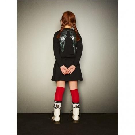 Vestido punto niña WINGS FOIL negro con alas