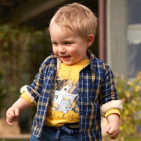Camiseta bebé m/l dogs color Maíz