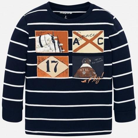 Camiseta niño m/l rayas color Marino