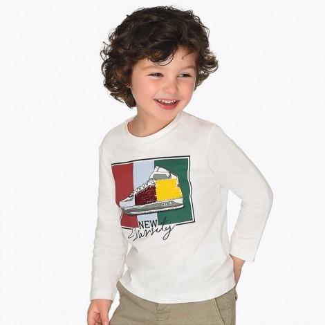 Camiseta infantil m/l lentejuelas color Nata