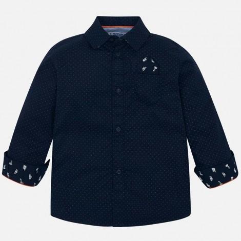 Camisa niño m/l estampado puntos color Marino