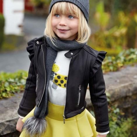 Cazadora niña antelina brillo color Negro