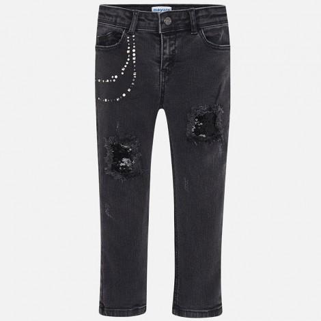 Pantalón largo niña tejano aplique color Negro