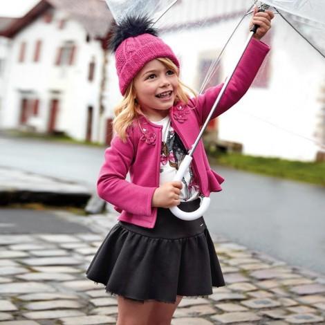 Falda niña antelina brillo y tul color Negro
