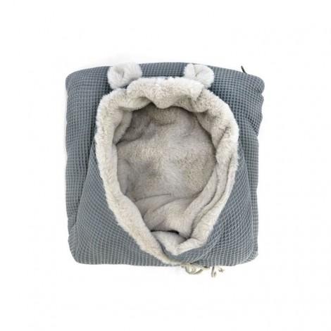 Saco bebé polar TEDDY WAFFLE GREY orejitas oso