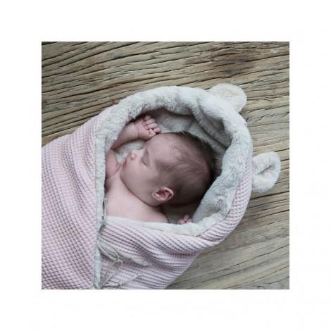Saco bebé polar TEDDY WAFFLE ROSE orejitas oso