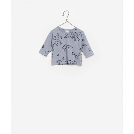Camiseta de punto estampada azul bolsillo AZUL ESTAMPADO M36