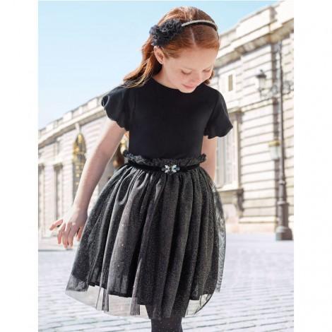Vestido fiesta terciopelo con tul color Negro